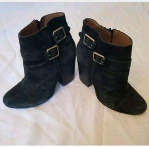Lucky Brand Black Suede Buckle Bootie Heels 7